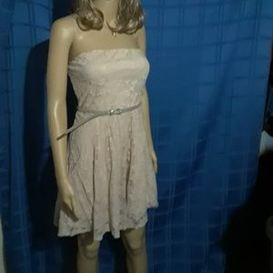 Strapless lace dress with gold glittery belt